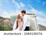 kissing couple in love against... | Shutterstock . vector #1084138376