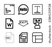 set of 9 word outline icons... | Shutterstock .eps vector #1084153928