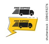 free shipping with truck van... | Shutterstock .eps vector #1084193276