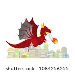 Dragon Burns City. Red Large...
