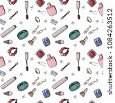 seamless pattern with cosmetics ... | Shutterstock .eps vector #1084263512