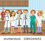a doctor team at hospital... | Shutterstock .eps vector #1084264652