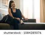 fitness sport women in fashion... | Shutterstock . vector #1084285076