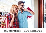 beautiful young couple enjoying ... | Shutterstock . vector #1084286018