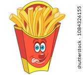 french fries in red package.... | Shutterstock .eps vector #1084326155