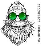 Stock vector image of smiling yeti in green round sunglasses 1084367732