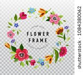 round flower frame for... | Shutterstock .eps vector #1084380062