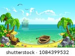 treasure chest in the gulf of... | Shutterstock .eps vector #1084399532