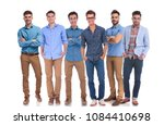 group of six young casual men... | Shutterstock . vector #1084410698