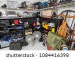 garage sale set with vintage... | Shutterstock . vector #1084416398