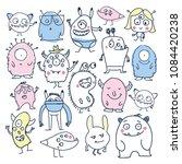 set of cute cartoon monsters... | Shutterstock .eps vector #1084420238