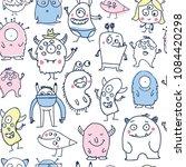 cute cartoon monsters doodles... | Shutterstock .eps vector #1084420298