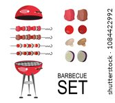 bbq grill meat  barbecue set of ... | Shutterstock .eps vector #1084422992