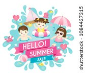 summer sale  happy kids... | Shutterstock .eps vector #1084427315