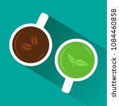coffee vs tea. view from above. ... | Shutterstock .eps vector #1084460858
