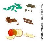 cardamom  mint  apple sliced ...   Shutterstock .eps vector #1084486742