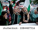 pro palestinian activists... | Shutterstock . vector #1084487516
