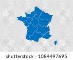 france map   high detailed blue ... | Shutterstock .eps vector #1084497695