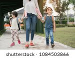 mother and pupil and kids... | Shutterstock . vector #1084503866