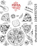 italian pizza and ingredients... | Shutterstock .eps vector #1084507025