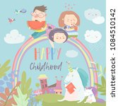 happy kids on rainbow with... | Shutterstock .eps vector #1084510142