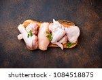 raw chicken meat fillet  thigh  ... | Shutterstock . vector #1084518875