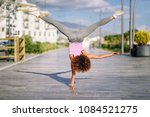 black fit woman doing fitness... | Shutterstock . vector #1084521275