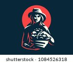 a female farmer in a hat with a ... | Shutterstock .eps vector #1084526318