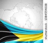 bahamas flag of silk and world... | Shutterstock . vector #1084554038