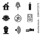 yoga practice icons set. simple ... | Shutterstock .eps vector #1084572572