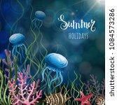 composition of seashells ... | Shutterstock .eps vector #1084573286