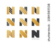 set of letter n logo design  | Shutterstock .eps vector #1084585538