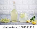 homemade elderflower  syrup... | Shutterstock . vector #1084591415