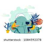 illustration  online assistant... | Shutterstock . vector #1084592378
