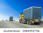 truck on highway road container ... | Shutterstock . vector #1084592756