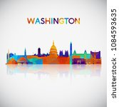 washington skyline silhouette... | Shutterstock .eps vector #1084593635