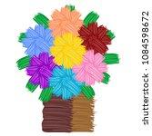 bouquet with flowers art  | Shutterstock .eps vector #1084598672
