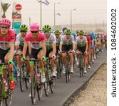 Small photo of Ramat Negev, Israel - May 06, 2018: Peloton at stage of Giro d'Italia from Beer Sheba to Eilat near regional council Ramat Negev