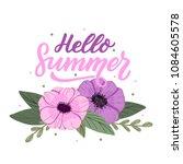 hand drawn lettering hello... | Shutterstock .eps vector #1084605578