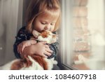 portrait of a small cute child... | Shutterstock . vector #1084607918