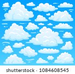 cartoon fluffy cloud at azure... | Shutterstock .eps vector #1084608545