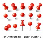 red pushpin top view. thumbtack ... | Shutterstock .eps vector #1084608548