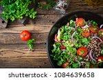 buckwheat salad with cherry... | Shutterstock . vector #1084639658