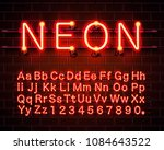 neon city color red font.... | Shutterstock .eps vector #1084643522
