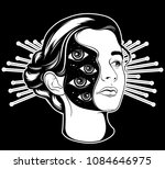 vector hand drawn surrealistic  ... | Shutterstock .eps vector #1084646975