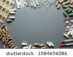 different medicaments and empty ...   Shutterstock . vector #1084656086