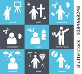set of 9 simple editable icons... | Shutterstock .eps vector #1084668248