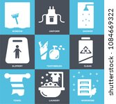 set of 9 simple editable icons... | Shutterstock .eps vector #1084669322