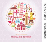 travel and tourism vector... | Shutterstock .eps vector #1084673972