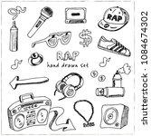 rap hand drawn doodle set.... | Shutterstock .eps vector #1084674302